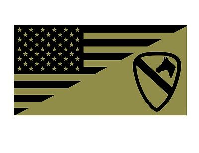 USA FLAG UNITED STATES ARMY 1st CAVALRY DIVISION TACTICAL VINYL DECAL STICKER
