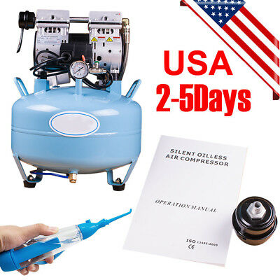 Dental Medical Air Compressor Silent Noiseless Oil Free Oilless + Oral Irrigator