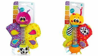 Playgro Rainmaker Butterfly Baby Rattle Pink Yellow Bright Multi Coloured BNWT