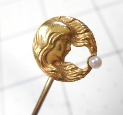 Antique Art Nouveau 14k Solid Gold Seed Pearl Woman w/ Flowing Hair Stick Pin