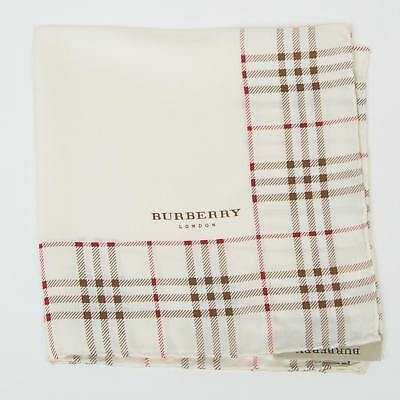 """Burberry London New $115 White Brown Red Plaid 100% Silk Pocket Square 12"""" Italy"""
