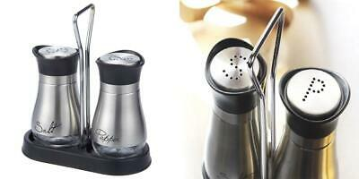 Salt and Pepper Shakers Set - High Grade Stainless Steel with Glass Bottom...