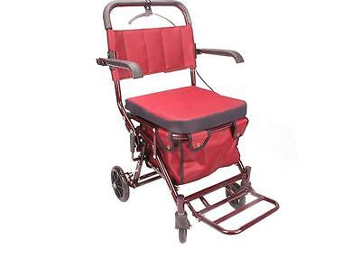 New Red Six Wheels Convenient Foldable Shopping Luggage Trolleys With Seat *
