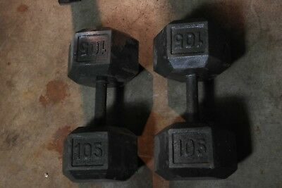 Pair of 105 lb Cast Iron Hex Dumbbells Weights