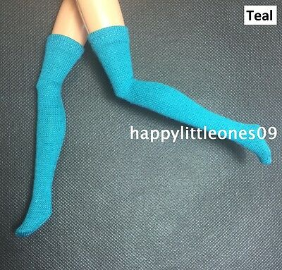 1 pair Brand New Handmade Socks Stockings for Barbie / Monster High Doll - Teal