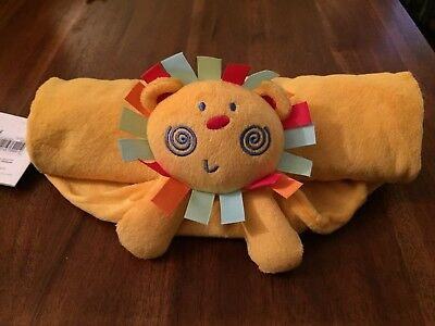 Mothercare Roll up Roll up orange/yellow Lion blanket comforter comfort soft toy