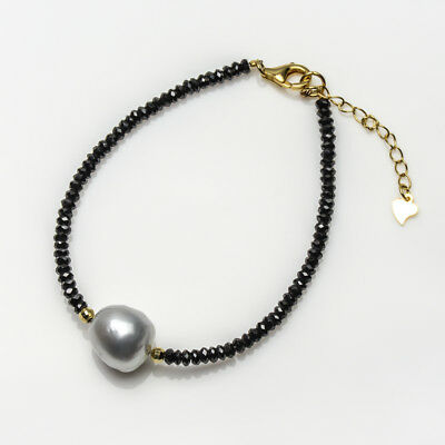 Silver White South Sea Cultured Pearl Black Spinel Bracelet 925 Sterling Silver