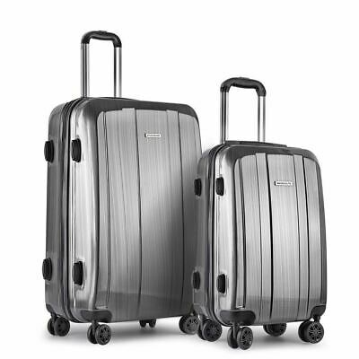 Set of 2 Luggage Suitcase TSA Code Lock Premium Hard Shell Travel Case Grey New