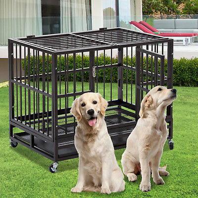 "XXL 49"" Dog Crate Large Kennel Cage Heavy Duty Metal Pet Playpen W/Wheels & Tray"