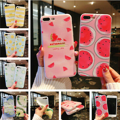 Slim Matte Relief Cute Fruits Patterned Soft TPU Case Cover For iPhone 8 7 6S X