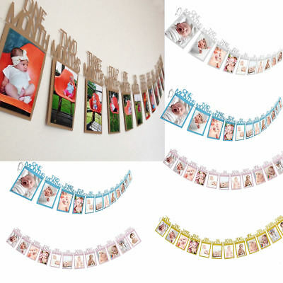 1st Birthday Recording 1-12 Month Photo Banner Garlands Monthly Bunting Party