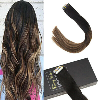 Sunny 20pcs Tape in Human Hair Extensions 50gr Balayage Black to Brown #1b/4/27