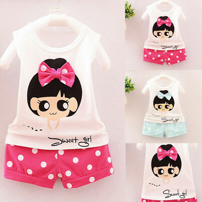 Summer Toddler Baby Boys Girl Letter Pocket T-Shirt Tops Dot Pant 2Pc Set Outfit