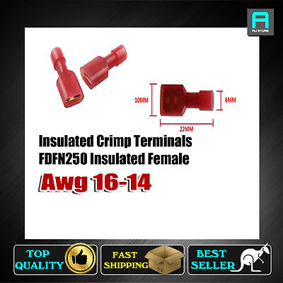 Female Red Insulated Crimp Terminals Spade Wiring Connectors FDFN-250 Electrical