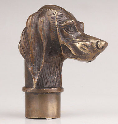 Bronze Long Ear Dog Statue Cane Walking Stick Head Handle Accessories Collectibl