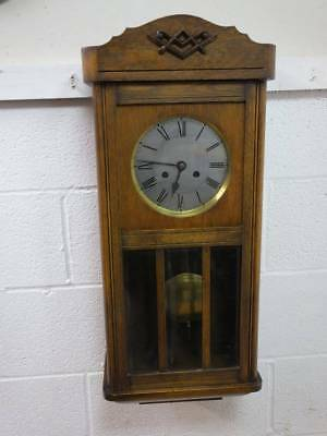 1920's OAK CASED WALL HANGING CLOCK, WIND, PENDULUM & KEY, Req Repair