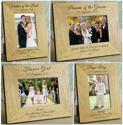 PERSONALISED WEDDING DAY Party Role Wooden PHOTO FRAME Thank You Gift Ideas For