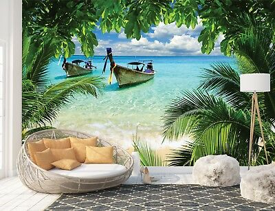 Wall Mural Photo Wallpaper Picture EASY-INSTALL Fleece Beach Tropical Paradise