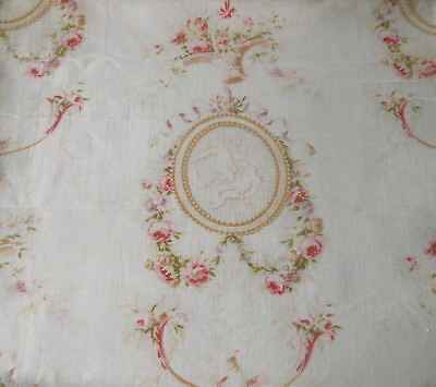 Superb Antique French Shabby Roses Cherub Cameo Cotton Fabric ~ Pink Lavender