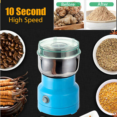AC-220V Electric Herbs/Spices/Nuts/Grains/Coffee Bean Grinder Mill Grinding Blue