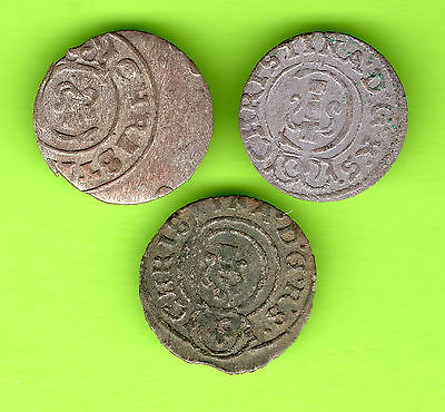 Latvia Sweden Germany Schilling RIGA Christina 1632-1654 Lot of 3 coins 488