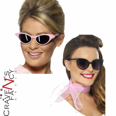 Grease Pink Ladies Accessories 1950's Fancy Dress Costume Sunglasses Neck Scarf
