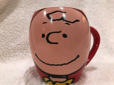 Charlie Brown Coffee Mug Cup 20 oz Red Oval Big Head Peanuts