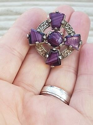 Vintage Signed Miracle Scottish Celtic Amethyst Agate Cross Silver Brooch Pin