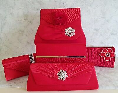 Red Satin Clutch Bag Wedding Bridal Prom Races Evening Diamante Bling New