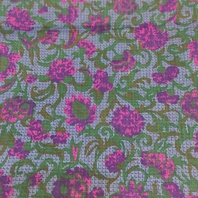 Floral Fruit of the Loom Cotton Fabric Purple Pink Flowers 1.9 Yards VTG