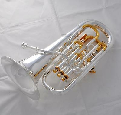 Professional Compensating system Euphonium Silver Gold Plated With Wheel Case