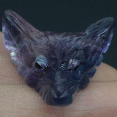 Howling Wolf Fluorite Stone Animal Pendant Hand Carved Necklace Jewelry