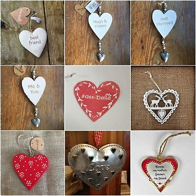 Shabby Chic Hanging Hearts Decoration Sass & Belle Gift Decor Wedding Christmas