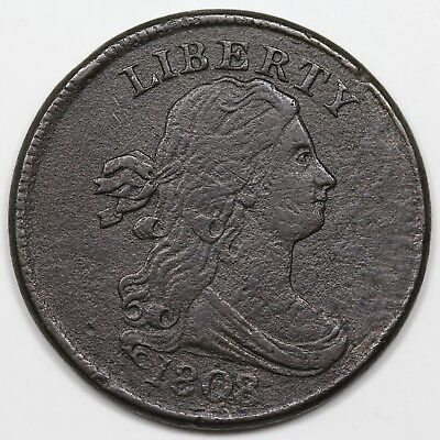 1808/7 Draped Bust Half Cent, XF detail