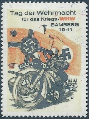 Artist Stamp Replica Poster Label Germany 080 WWII 1941 Bamberg Motorcycle MNH