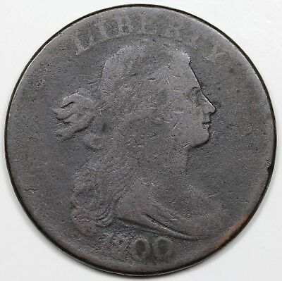 1800/1798 Draped Bust Large Cent, Style 1 Hair, VG-F detail