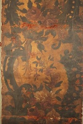 18th or 17th century Antique painted leather panel painting screen