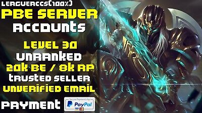 League of Legends LoL PBE Account | 8000 RP & 20000 BE | VOICE CHAT UPDATE LIVE