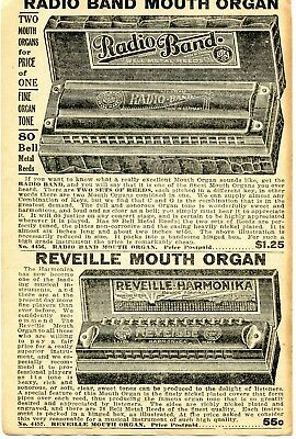 1935 small Print Ad of Radio Band & Reveille Mouth Organ Harmonica