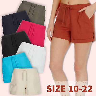 Ladies Linen Shortie Shorts Pockets Summer Holiday Beach Drawstring Casual Cool