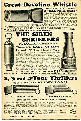 1935 small Print Ad of Great Develine Whistle, Siren Shriekers, Tone Thrillers
