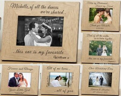 PERSONALISED WEDDING DAY Wooden PHOTO FRAME Gift Ideas For Bride COUPLE Dad