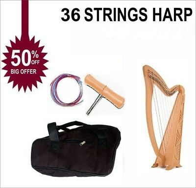 36 String Harp Lever Harp Celtic Harp Irish Harp With Deluxe Bag and Tunning Key