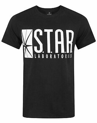 Flash TV STAR Laboratories Black Cotton Men's T-Shirt Star Labs Tee DC Comics