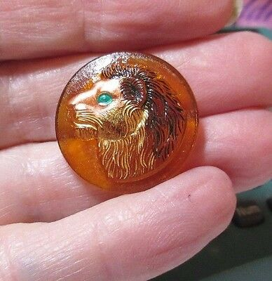 Czech Glass: 22mm Amber w/Brown Lion Transparent Button  BK839