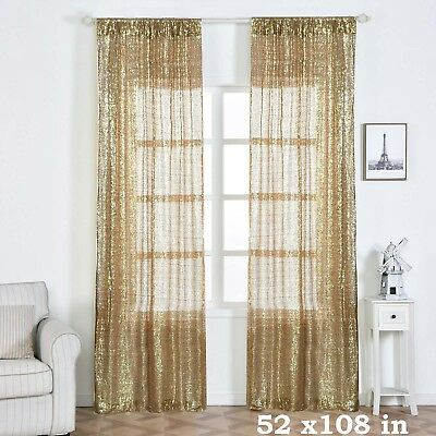 """2 pcs Champagne 52"""" x 108"""" Sequined Window CURTAINS Drapes Panels Backdrop Home"""