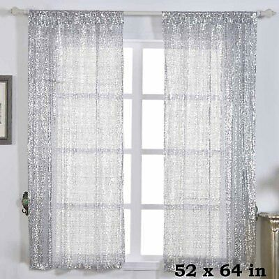 """2 pcs Silver 52"""" x 64"""" Sequined Window CURTAINS Drapes Panels Backdrop Home"""