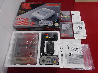 SNES Super Nintendo Grey Pal COMPUTER CONSOLE with Box Instructions