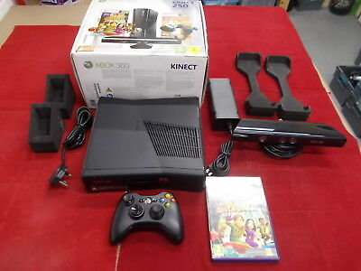 Xbox 360 Microsoft Black Pal SLIM 250GB KINECT ADVENTURES COMPUTER CONSOLE with