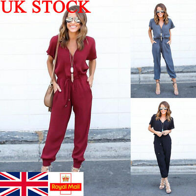 UK Womens Ladies Short Sleeve V Neck Jumpsuit Chiffon Casual Skinny Playsuit